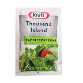Kraft Fat Free 1000 Island Dressing F02-0000333-1300 - 1.5 oz thousand island flavor salad dressing in single serving pouch. Fat Free.
