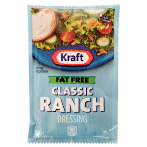 Kraft Fat Free Ranch Dressing F02-0000334-1200 - 1.5 oz ranch flavor fat free salad dressing in individual serving size pouch.
