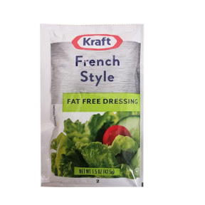 Kraft Fat Free French Style Dressing F02-0000335-1200 - 1.5 oz fat free french flavor salad dressing in individual serving size pouch.