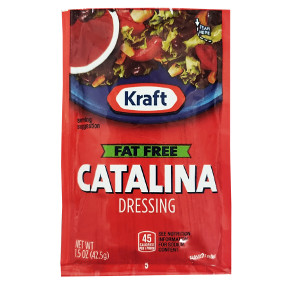 Kraft Fat Free Catalina F02-0000339-1300 - 1.5 oz fat free catalina flavor salad dressing in individual serving size pouch.