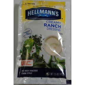 Hellmann's Creamy Ranch 1.5 oz F02-0000904-1301 - 1.5 oz creamy ranch salad dressing in individually sealed single serving pouch.