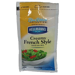 Hellmann's Creamy French Dressing F02-0000905-1300 - 1.5 oz creamy french style salad dressing in individually sealed pouch. Blue Ribbon Collection™.