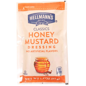 Hellmann's Honey Mustard Dressing F02-0000907-1300 - 1.5 oz honey mustard salad dressing in individually sealed pouch. Blue Ribbon Collection™. No Trans Fat per serving.