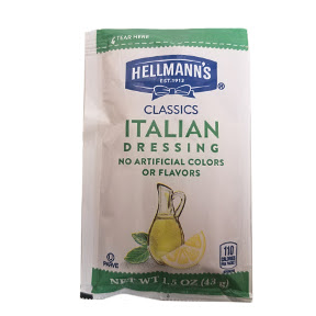 Hellmann's Zesty Italian 1.5 oz F02-0000908-1300 - 1.5 oz zesty italian salad dressing in individually sealed single serving pouch.