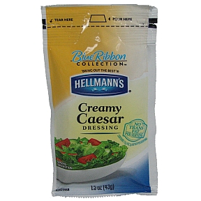 Hellmann's Creamy Caesar Dressing F02-0000911-1300 - 1.5 oz creamy caesar salad dressing in individually sealed pouch. Blue Ribbon Collection.