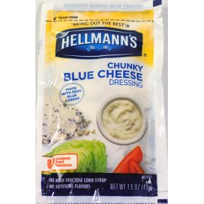 Hellmann's Chunky Blue Cheese F02-0000916-1300 - 1.5 oz chunky blue cheese dressing in individually sealed pouch made with real blue cheese.