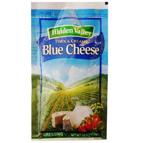 Hidden Valley Blue Cheese Dressing F02-0002005-1300 - 1.5 oz blue cheese flavor salad dressing in individually sealed single serving pouch. A convenient travel size for on the go.