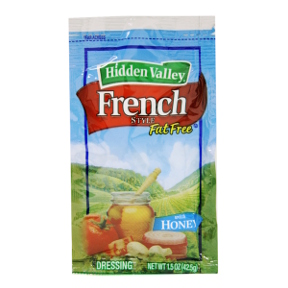 Hidden Valley Fat Free French Style  Dressing F02-0002031-1300 - 1.5 oz french flavor fat free salad dressing in individually sealed single serving pouch. With honey. A convenient travel size for on the go.