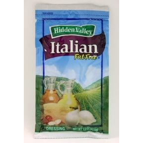 Hidden Valley Fat Free Italian Dressing F02-0002032-1300 - 1.5 oz fat free italian flavor salad dressing in individually sealed single serving pouch. A convenient travel size for on the go.