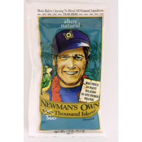 Newman's Own Two Thousand Island Dressing F02-0015503-1300 - 1.5 oz two thousand island flavor salad dressing in individually sealed single serving pouch. All Natural. A convenient travel size for on the go.