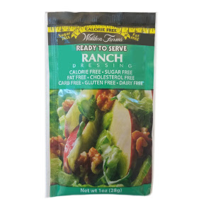 Walden Farms Ranch dressing F02-0048504-1200 - 1 oz ranch flavor salad dressing in individually sealed single serving pouch. Calorie Free, Sugar Free, Fat Free, Cholesterol free, Carbohydrate Free. Gluten Free. A convenient travel size for on the go.