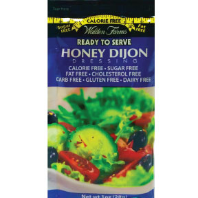 Walden Farms Honey Dijon dressing F02-0048508-1200- 1 oz. honey dijon flavor salad dressing in individually sealed single serving pouch. Calorie Free, Sugar Free, Fat Free, Cholesterol free, Carbohydrate Free, Gluten Free, Dairy Free. A convenient travel