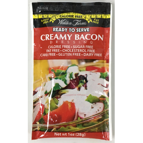 Walden Farms Creamy Bacon dressing F02-0048509-1200 - 1 oz creamy bacon flavor salad dressing in individually sealed single serving pouch. Calorie Free, Sugar Free, Fat Free, Cholesterol free, Carbohydrate Free. Gluten Free. A convenient travel size for o
