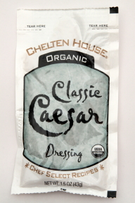 Chelten House Organic Caesar Dressing F02-0048705-1300 - 1.5 oz caesar flavor salad dressing in individually sealed single serving pouch. USDA Organic. A convenient travel size for on the go.