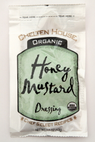Chelten House Organic Honey Mustard Dressing F02-0048706-1300 - 1.5 oz honey mustard flavor salad dressing in individually sealed single serving pouch. USDA Organic. A convenient travel size for on the go.