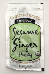 Chelten House Organic Sesame Ginger Dressing F02-0048710-1300 - 1.5 oz sesame ginger flavor salad dressing in individually sealed single serving pouch. USDA Organic. A convenient travel size for on the go.