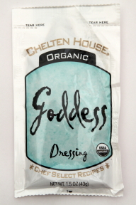 Chelten House Organic Goddess Dressing F02-0048711-1300 - 1.5 oz goddess flavor salad dressing in individually sealed single serving pouch. USDA Organic. A convenient travel size for on the go.