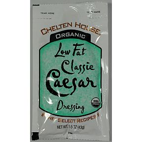 Chelten House Organic Low Fat Classic Caesar Dressing F02-0048725-1300 - 1.5 oz Low Fat Classic Caesar salad dressing in individually sealed single serving pouch. USDA Organic. A convenient travel size for on the go.