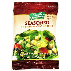 Fresh Gourmet Seasoned Croutons F02-0457803-8100 - 0.25 oz seasoned croutons in sealed package. A convenient travel size for on the go.