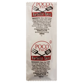 Poco Pac® Barbecue Sauce Pouch F03-3188901-1200-single serving pouch of barbecue sauce.