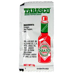 Tabasco Brand Pepper Sauce (packet) F03-3700100-1100 - 3 gram tabasco pepper sauce in individual size packet. A convenient travel size for on the go.