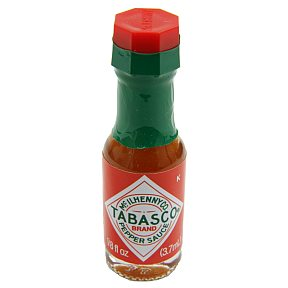 Tabasco Brand Pepper Sauce (bottle) F03-3704400-3100 - 1/8 fl oz tabasco pepper sauce in glass bottle. A convenient travel size for on the go.