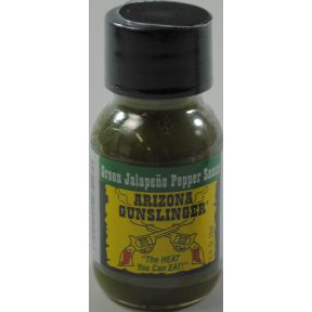 Arizona Gunslinger Green Jalapeno Pepper Sauce F03-3772806-3100 - 3/4 oz plastic bottle.