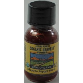 Arizona Peppers Organic Harvest Jalapeno Pepper Sauce F03-3772827-3100 - 3/4 oz plastic bottle.