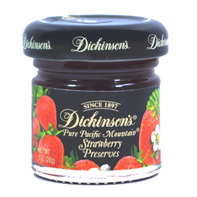 Dickinsons® Pure Pacific Mountain® Strawberry Preserves F04-0038502-3100-1 oz. glass jar.