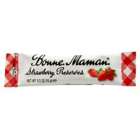Bonne Maman Strawberry Preserves - packet F04-0044423-1100 - 0.5 oz strawberry preserves in individual size packet. A convenient travel size for on the go.