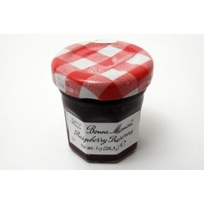 Bonne Maman Raspberry Preserves - jar F04-1044424-3100 - 1 oz raspberry preserve in glass jar. From France. A convenient travel size for on the go.