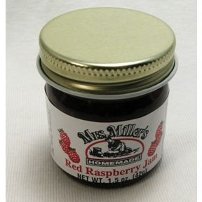 Mrs. Miller's Homemade Red Raspberry Jam F04-0070307-3200 - 1.5 oz red raspberry jam in glass jar. A convenient travel size for on the go.