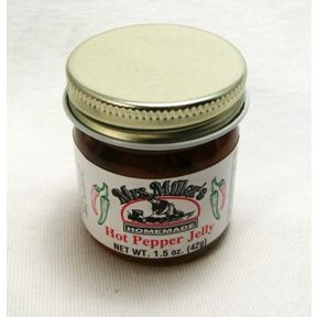 Mrs. Miller's Homemade Hot Pepper Jelly F04-0070319-3200 - 1.5 oz hot pepper jelly in glass jar. A convenient travel size for on the go.