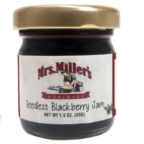 Mrs. Miller's Seedless Blackberry Jam F04-0070339-3200 - 1.5 oz seedless blackberry jam in glass jar. A convenient travel size for on the go.