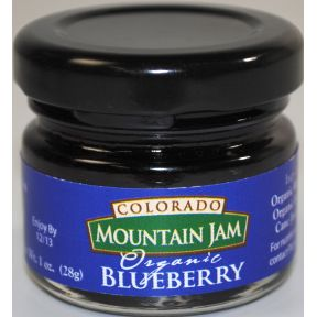 Colorado Mountain Jam Organic Blueberry F04-0073015-3100 - 1 oz Organic Blueberry jam in glass jar. A convenient travel size for on the go.