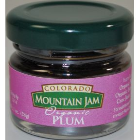 Colorado Mountain Jam Organic Plum F04-0073017-3100 - 1 oz Organic Plum Jam in glass jar. A convenient travel size for on the go.