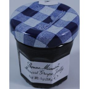 Bonne Maman Muscat Grape Jelly - jar F04-1044401-3100 - 1 oz grape jelly in glass jar. From France. A convenient travel size for on the go.