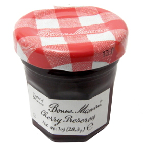Bonne Maman Cherry Preserves - jar F04-1044427-3100 - 1 oz cherry preserve in glass jar. From France. A convenient travel size for on the go.