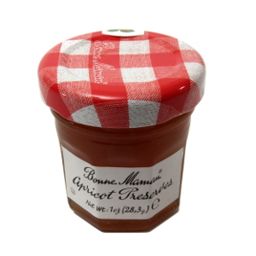 Bonne Maman Apricot Preserves- jar F04-1044428-3100 - 1 oz travel size apricot preserve in glass jar. From France. A convenient travel size for on the go.