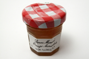 Bonne Maman Orange Marmalade - jar F04-1044436-3100 - 1 oz orange marmalade in glass jar. From France. A convenient travel size for on the go.