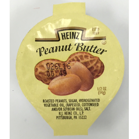 Heinz® Peanut Butter Cup, F06-0100100-2100. 0.5 oz peanut butter individual size cup.  A convenient travel size for on the go.