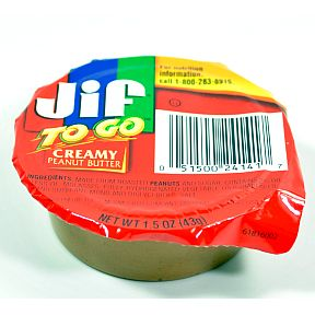 Jif® to Go Creamy Peanut Butter F06-0184901-2300-1.5 oz. single serving cup.