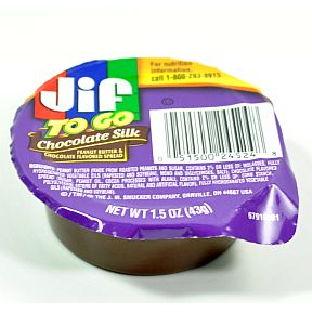 Jif® to Go Chocolate Silk F06-0184904-2300-1.5 oz single serving cup. Peanut butter & chocolate flavored spread.