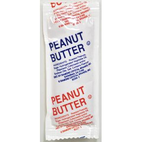 Diamond Crystal Peanut Butter (.5 oz pouch) F06-0188901-1000-single serving size pouch of peanut butter.