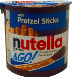 Nutella & Go Hazelnut Spread & Pretzel Sticks F06-0342903-8100-1.9 oz. individually sealed plastic container.