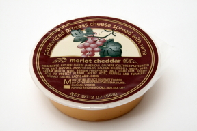 Cheese Spread with Wine - Merlot Cheddar F06-1067502-2400 - 2 oz travel size merlot cheddar cheese spread in individual size wide-mouth plastic cup. A convenient travel size for on the go.