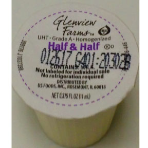 Glenview Farms Half & Half F07-0124302-0100 - 3/8 fl oz half and half in individual size cup. A convenient travel size for on the go. No refrigeration needed.