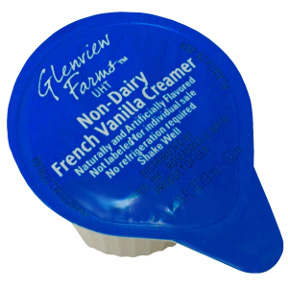 Glenview Farms™ Non-Dairy French Vanilla Creamer F07-0124303-0100 - 0.4375 fl. oz. creamer in individual size cup. A convenient travel size for on the go. No refrigeration needed.