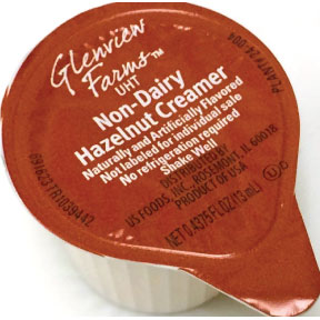 Glenview Farms™ Non-Dairy Hazelnut Creamer F07-0124304-0100 - 0.4375 fl. oz. creamer in individual size cup. A convenient travel size for on the go. No refrigeration needed.