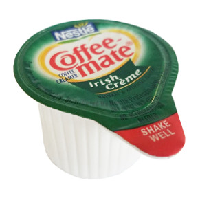 Nestle Coffeemate Irish Cream Coffee Creamer F07-0206004-0100 - 3/8 fl oz coffee creamer in individual size cup. A convenient travel size for on the go. No refrigeration needed. Natural and artificial flavors.